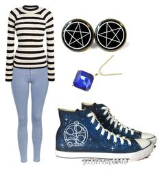 """Doctor Who Converse"" by sh-armacost ❤ liked on Polyvore featuring Topshop and Converse"