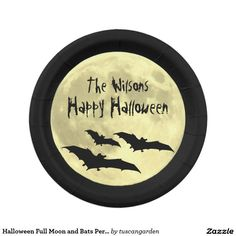 Halloween Full Moon and Bats Personalized