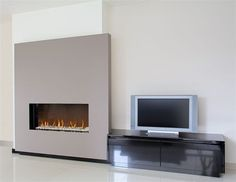 Moderne schouwen M006 Flat Screen, Fire, Places, Modern, House, Design Ideas, Interior Design, Tv, Home Decor