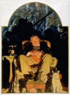 Asleep with Book — Norman Rockwell | via @biblioklept