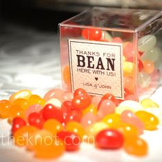 """""""Thanks for BEAN here with us"""" Jelly Bean Favors // photo by: Jeff Tisman Photography"""
