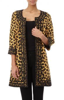 Amazing jacket - cute when pregnant an hides everything when you are not. Irving & Fine Embroidered Leopard Print Coat