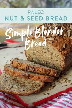 This gluten and grain-free PALEO NUT & SEED BLENDER BREAD is seriously simple to make. This homemade bread recipe relies only on ground up nuts and seeds as the flour and is made in a high speed blender. No kneading, rising, rolling or bread maker re Bread Maker Recipes, Healthy Bread Recipes, Paleo Meals, Easy Healthy Bread Recipe, Healthy Muffins, Protein Recipes, Grain Free Bread, Gluten Free Whole Grain Bread Recipe, Seven Grain Bread Recipe