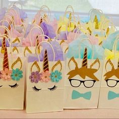 Licorne Fairytale Boy and Girl Birthday Party Favor Bags Fairytale Birthday Party, Unicorn Themed Birthday Party, Unicorn Birthday Parties, Birthday Party Favors, Birthday Party Decorations, Unicorn Party Bags, Birthday Ideas, 5th Birthday, Pochette Surprise