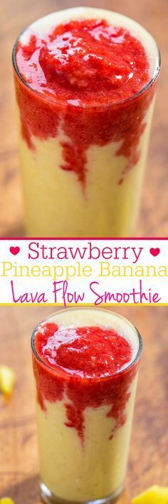 Strawberry Pineapple Banana Lava Flow Smoothie – Refreshing, fast, easy, with no added sugar, and tastes great! (Bonus: Looks super cool!) Keep your guests refreshed with this! Strawberry Pineapple Banana L Yummy Smoothies, Smoothie Drinks, Vegetarian Smoothies, Healthy Drinks, Healthy Snacks, Detox, Frozen Drinks, Summer Drinks, Lava Flow