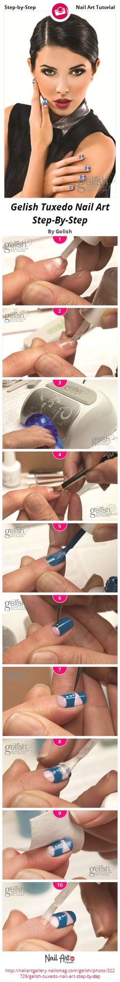 Gelish Tuxedo Nail Art Step-By-Step #gelish #nailart #stepbystep