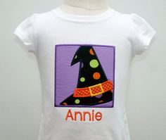 Girls Boutique Halloween Applique Shirt - Witch Hat Applique - Halloween Applique - Girls Halloween Shirt - Witch Applique - Fall