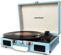 Crosley Cruiser Turntable - Turquoise Love the rich, warm sound of vinyl, but wish it was a more moveable music format? Put down the iPod and mobilize your music with the Crosley Cruiser three-speed p Built In Speakers, Stereo Speakers, Ipod, Portable Record Player, Belt Drive, Record Players, Dot And Bo, Printer, Ebay