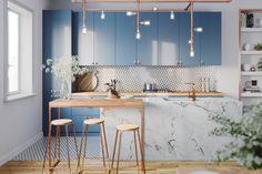 Kék konyha ötletek kék színárnyalatok a konyhabútoron és különböző felületeken 26 szín- design és anyag kombináció
