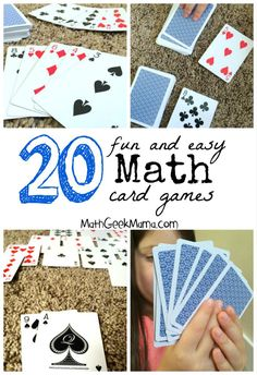 A great collection of fun math card games! These are easy, and in most cases all you need is a deck of cards! A collection of dozens of the best math card games for Kindergarten through high school, organized by math topic to help you find what you need! Math Card Games, Card Games For Kids, Dice Games, Cool Math For Kids, Easy Math Games, Kids Math, E Learning, Learning Process, Kindergarten Games