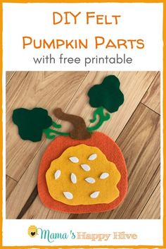 This DIY Felt Pumpkin Parts and Life Cycle includes a free printable for creating your own felt pumpkin diagram. Also, included is Montessori 3-part cards. - www.mamashappyhive.com