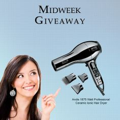 For this week's Midweek Giveaway, one lucky winner will get a FREE Andis 1875 Watt Professional Ceramic Ionic Hair Dryer.