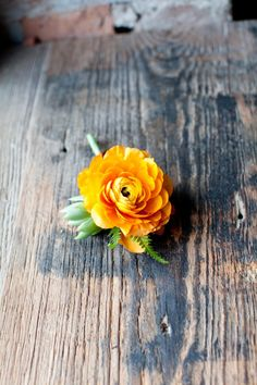 A mixture of texture flowers:poppies, ranunculus, tilandsia, succulents, and green buds made for this bridal bouquet and accented with an orange ranunculus and fern, succuelnt boutineer.