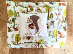 Blanket, pillow and pet - forest motifs - handmade product by PieceOfMyLife on Etsy