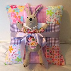 Bright Name Cushion And Toy Rabbit Gift Set - cushions £39
