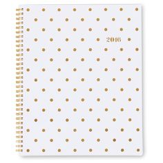 Large frosted cover planner in gold foil polka dot cover design  with date  detail. Weekly and Monthly tabbed calendars in 8-1/2 x 11 page size offers ample writing space. Gold wire-o binding. January - December 2016.