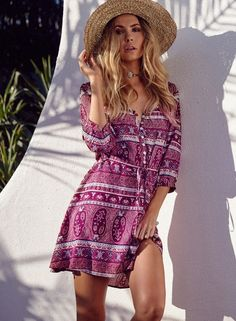 V Neck Floral Print Button Down Dress