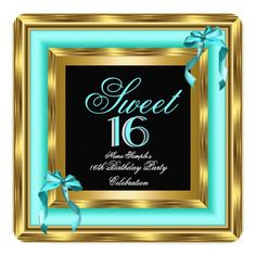 Sweet 16 Teal Blue Gold Black 16th Birthday Party Card