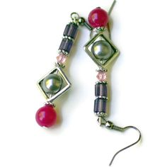 Raspberry Purple Silver Earrings/ Sparkling Jade Pearls Swarovski Holiday Earrings/ Pink Opera Earrings/ Special Occasions Drop Earrings