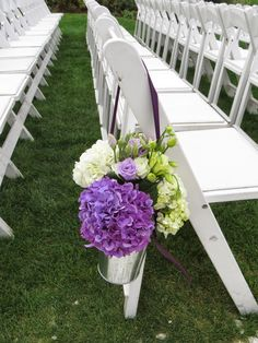 Galvanized Pail Arrangement with purple and white hydrangeas and green and lavender lisianthus Purple Hydrangea Wedding, Wedding Flowers, White Hydrangeas, Lavender, Floral, Green, Plants, Inspiration, Design