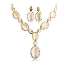 cool Rhinestone Faux Opal Necklace Earrings Opal Necklace, Earrings, Personalized Items, Dresses, Vestidos, Ear Piercings, Dress, Dressers, Gowns