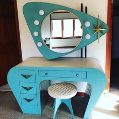 Handmade Vanity with Atomic Era retro design. Mid century modern style with brass starburst and chevron hardware, Rocket stool, and boomerang Formica laminate Funky Furniture, Plywood Furniture, Unique Furniture, Vintage Furniture, Furniture Design, Furniture Stores, Furniture Cleaning, Furniture Layout, Rustic Furniture