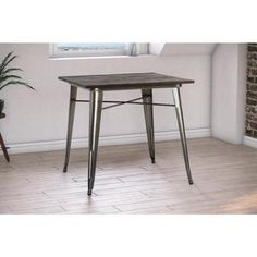DHP Antique Gun Metal/ Wood Fusion Square Dining Table - 19053452 - Overstock.com Shopping - Great Deals on DHP Dining Tables