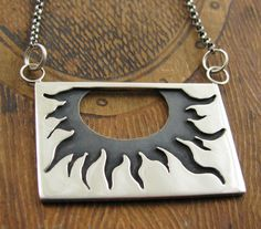 Sterling Silver Sun Flower Necklace- with Patina. $118.00, via Etsy.