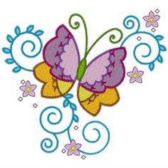 AnnTheGran Free Embroidery Design: Swirly Butterfly 3.50 inches H x 3.90 inches W