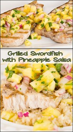 Grilled Swordfish with Pineapple Salsa www.joyineverysea… Grilled Swordfish with Pineapple Salsa www. Fish Dishes, Seafood Dishes, Seafood Recipes, Main Dishes, Grilled Swordfish, Swordfish Recipes, Grilling Recipes, Cooking Recipes, Healthy Recipes
