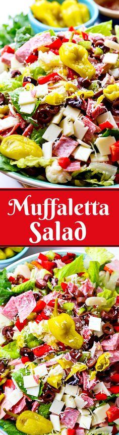 Muffaletta Salad. All the flavors of a muffaletta sandwich in a salad.