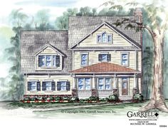 Garrell Associates, Inc.Oak Arbor House Plan # 05064, Front Elevation, Craftsman Style House Plans, Design by Michael W. Garrell
