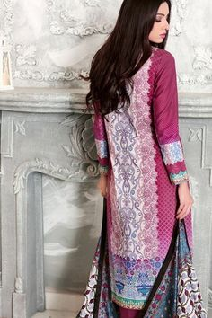 Shirt:  Fabric: Front Embroidered Lawn Back Printed & Printed Sleeves  Shalwar/Trouser:  Fabric: Dyed Salwar  Dupatta:  Fabric: Printed Silk.