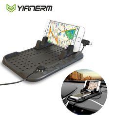 Yianerm điện thoại xe hơi chủ anti-slip silicone pad magnetic sạc đứng cơ sở đối với iphone android sạc cáp điện thoại hỗ trợ