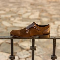 Handcrafted Custom Made Women's Double Monks in Brown Croco Embossed Calf and Medium Brown Luxe Suede From Robert August. Create your own custom designed shoes. Custom Made Shoes, Custom Design Shoes, Monk Strap Shoes, Hot Shoes, Women's Shoes, Medium Brown, Calf Leather, Leather Shoes, Lady