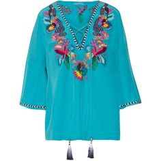 Matthew Williamson - Jungle Lace-up Embellished Washed-silk Top (€305) ❤ liked on Polyvore featuring tops, turquoise, embellished top, boho chic tops, beaded silk top, print top and bohemian style tops