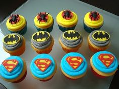 "@Pam Shepherd Smith- more Super hero cupcakes.  The Super Man ""S"" makes more sense on a blue iced cupcake probably, versus red like that first photo."