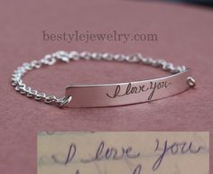 Signature Bar Bracelet - Engraved Handwriting Bar Bracelet - Christmas Gifts - Unique Jewelry