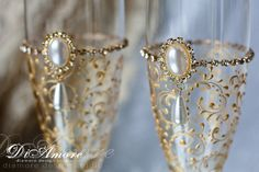 Gold Art Deco Gatsby Style wedding Champagne Flutes/  by DiAmoreDS