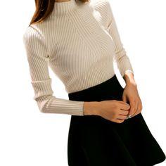 Autumn Winter Women Knit Sweater Pullovers High neck Jacket Coat Long Sleeve  Sueter Mujer Chandail 9176 a821181da