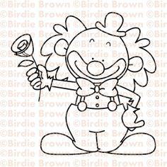 Digital stamp -- Clown - Rose