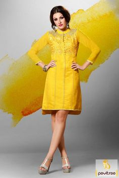 Fashionable teenage girls wear trendy yellow color embroidery kurti online shopping with discount offer. This high neck embroidery design kurti best for wedding and party. #kurti, #casualkurti more: http://www.pavitraa.in/store/anarkali-kurtis/