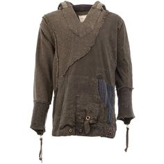97f23a895af2 Greg Lauren eyelet details hooded T-shirt (144.310 RUB) ❤ liked on Polyvore