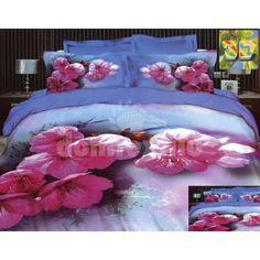 Svetlomodré posteľné návliečky s ružovými kvetmi