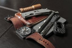 Awesome Carbon Afrankart Single Finger Knuck, Bell & Ross watch, and TiBolt pen
