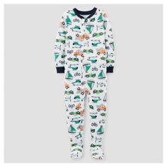 Baby Boys' One Piece Snug Fit Cotton Footed Pajama - Just One You™ Made by Carter's® White/Navy : Target
