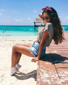 Cute beach/summery photo -high top converse -tumblr shorts -plain gray top -beach wave hair -bandana -round sunglasses