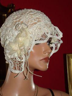 Wedding Flapper Hat Cloche Hat 1920 style Bridal by ludascrafts, $69.99