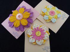 3 flower hair barrettes - designer's choice