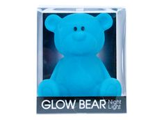Glow Bear Night Light - Blue - $29.95 - Help soothe your little one to sleep with the soft glow of this gorgeous Glow Bear night light in blue!  Features easy push on and push off function. #littlebooteek #kids #baby #bedroom #nursery #gifts #decor #nightlight #glowinthedark